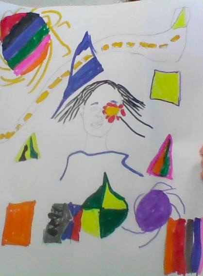 Artwork is on a white background made with marker. There are a colorful shapes scattered around a drawing of a figure with black hair. There is a flower covering one of the eyes and a yellow dashed line that crosses the background diagonally.