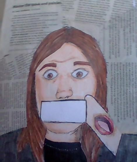 Artwork depicts a light skinned girl with brown shoulder length hair from the chest up. The expression looks distressed while her open mouth appears on a strip that of paper that appears to be falling off the page. The background is made out of torn newspapers.