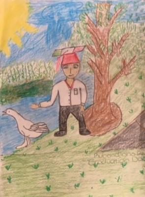 drawing with colored pencils of a green landscape with a body of water and a tree. There is a white goose and a young boy wearing a graduation hat with stripes representing the Mexican flag.