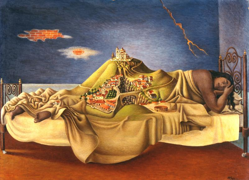 Surrealist painting of a woman sleeping on her side with a Mexican village rising out of her bed.