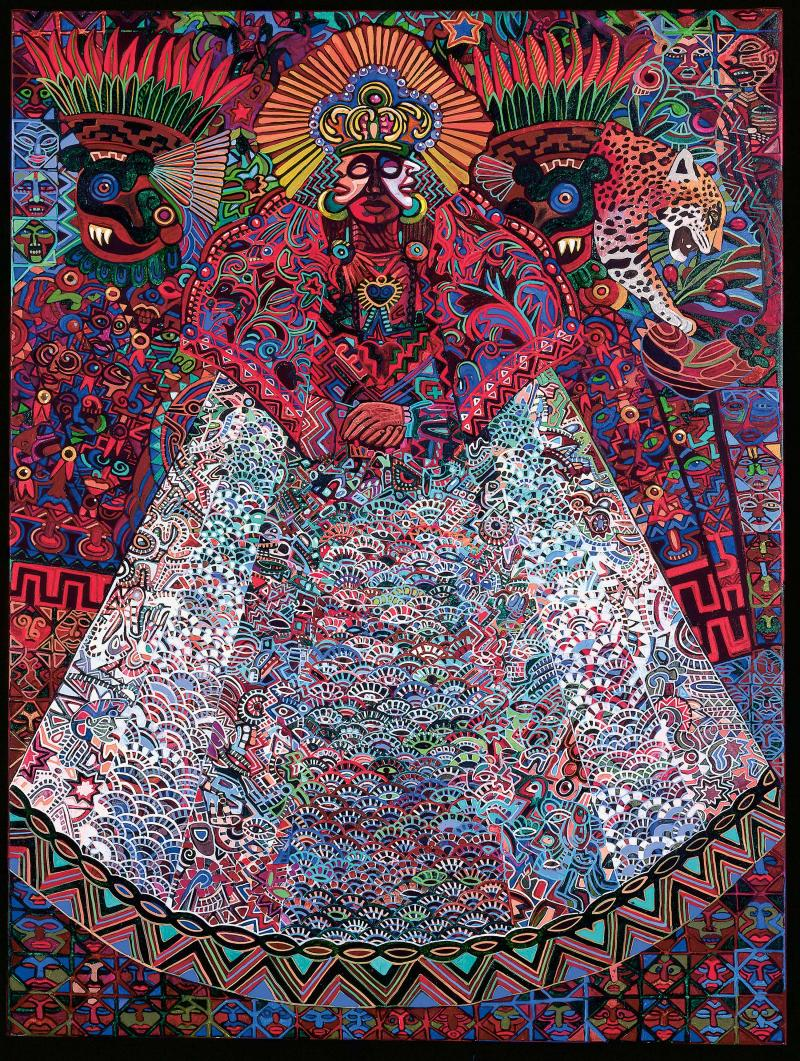 Brightly-colored, richly textured stylized painting of Malinche