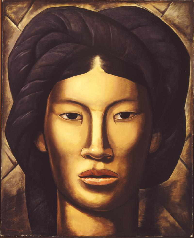 Close-up painting of Malinche from the neck up