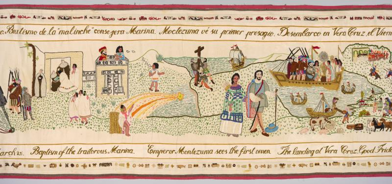 Woven tapestry depicting various events in Mexican and Malinche history