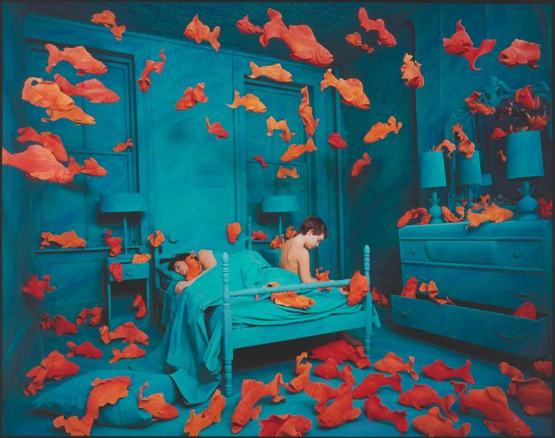 Surreal painting of a blue muted bedroom surrounded by bright orange goldfish