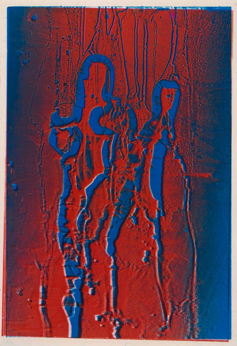 Red and blue abstract photograph depicting a mother and son
