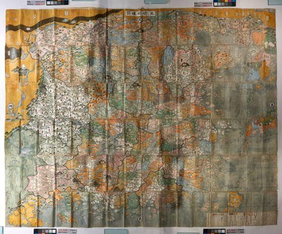 Ming Dynasty map under raking light