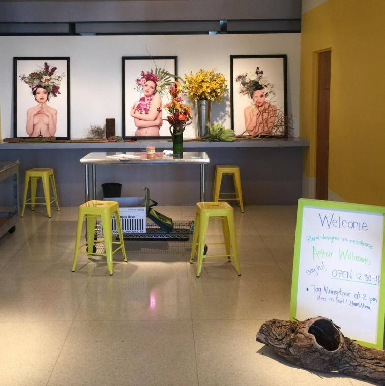 A pop-up floral studio by Arthur Williams in the Denver Art Museum