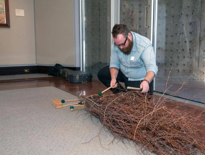 Unexpected materials being used as percussion in the western American art galleries