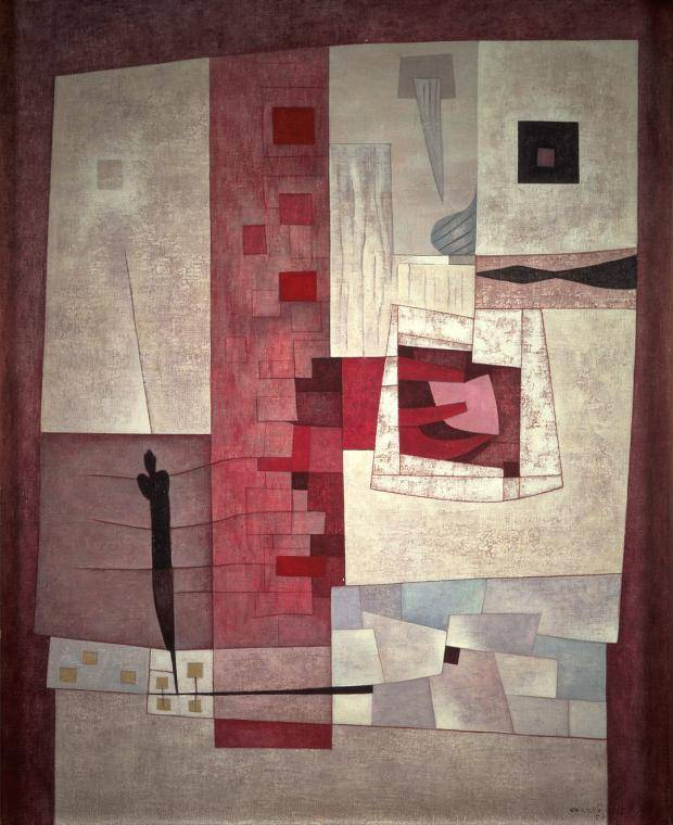 Abstract painting of a slender figure next to a tower of red geometric shapes