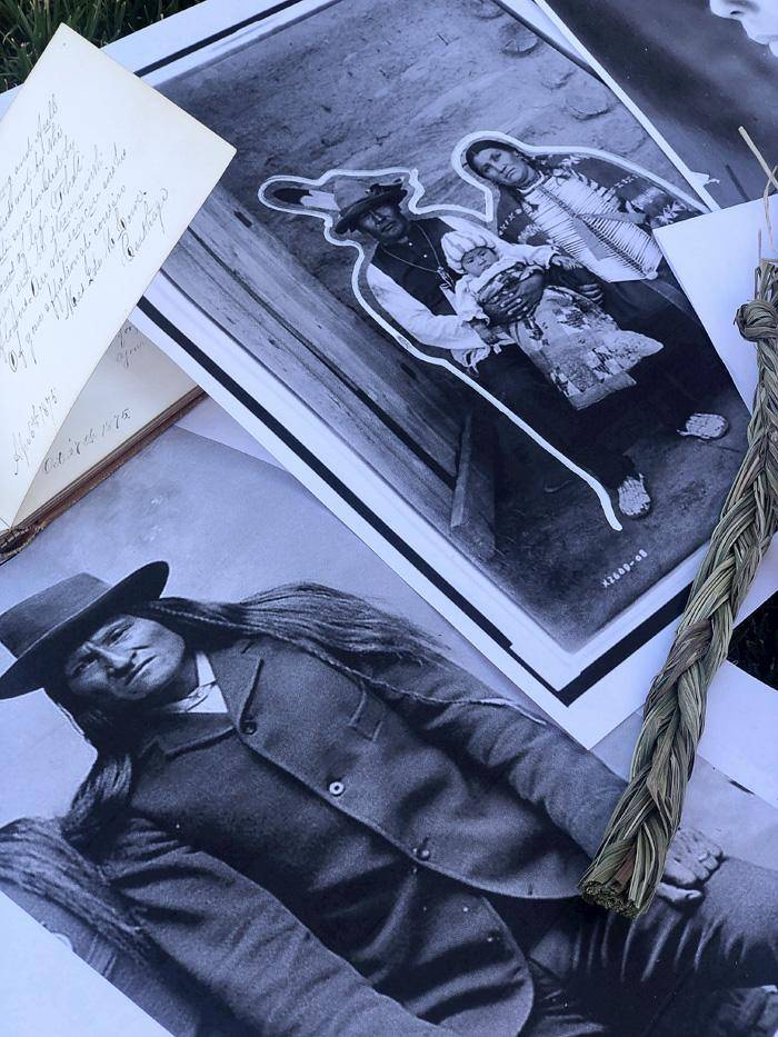 2 black and white photos of Native people and handwritten letters