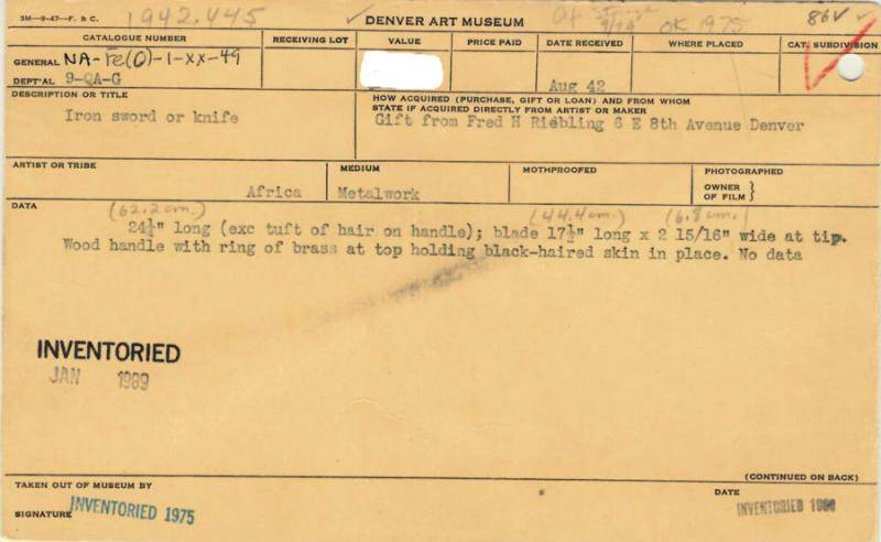 Front of catalog card of an object in the African art collection