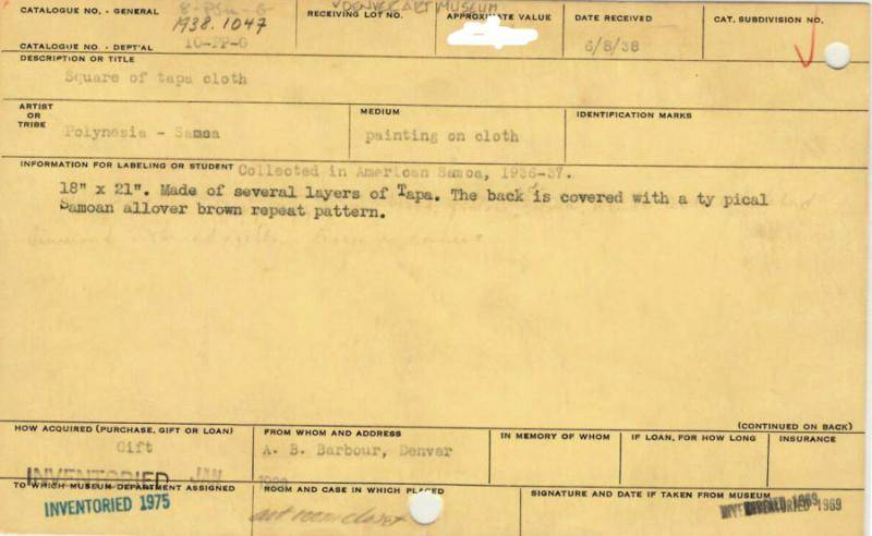 Front of catalog card of bark cloth in the Oceanic art collection